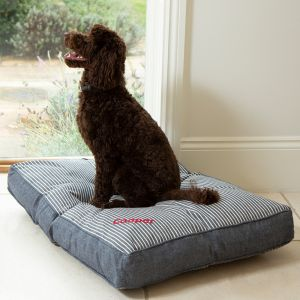 Personalised Maritime Stripe Blue Pet Mattress