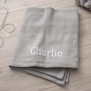 Personalised Grey Cot Sized Cellular Blanket