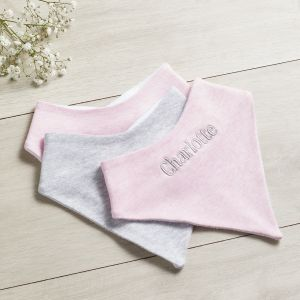 Personalised Grey & Pink Bibs - 3 pack