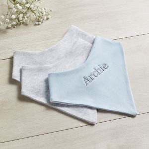 Personalised Grey & Blue Bibs - 3 pack