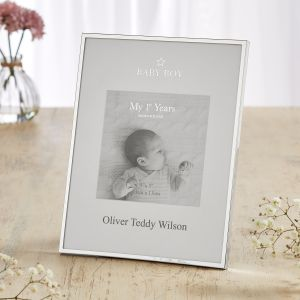 Personalised Silver-Plated Baby Boy Photo Frame