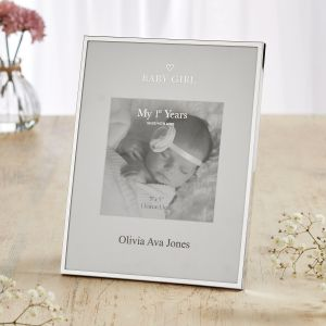 Personalised Silver-Plated Baby Girl Photo Frame