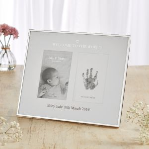 Personalised 'Welcome to the World' Photo and Ink Print Frame
