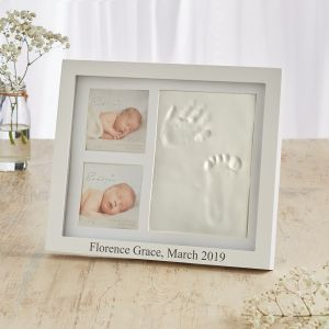 Personalised Double Photo Frame with Clay Prints