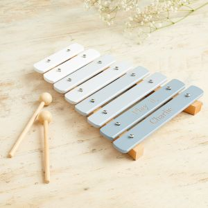 Personalised Grey Wooden Xylophone Toy