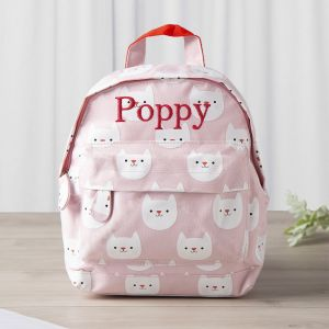 Personalised Pink Cat Print Mini Backpack