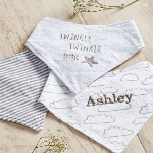 Personalised Cloud Bibs Set of 3