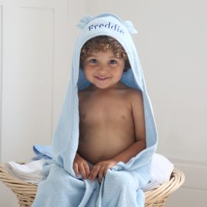 Personalised Large Blue Hooded Bath Towel
