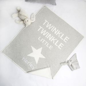 Personalised Grey Twinkle Twinkle Blanket
