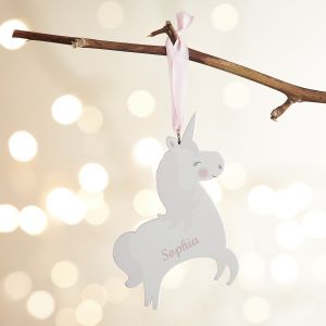 Personalised Wooden Unicorn Decoration