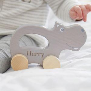 Personalised Grey Hippo Push Along