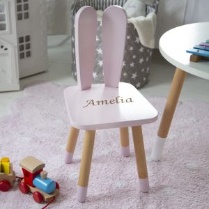 Personalised Pink Bunny Ears Chair