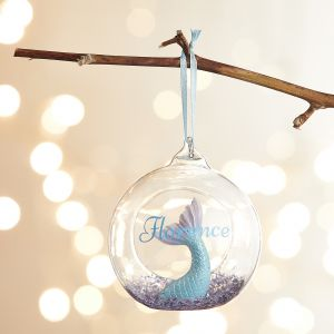 Personalised Glitter Mermaid Tail Open Bauble