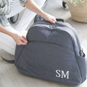 Monogrammed Denim Blue Changing Bag