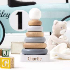 Personalised Neutral Wooden Stacker