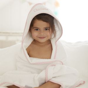 Personalised Pink Gingham Trim Hooded Towel