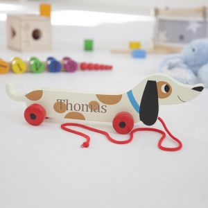 Personalised Wooden Sausage Dog Pull Along Toy