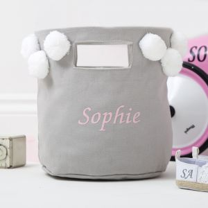 Personalised Grey Pom-Pom Small Bag