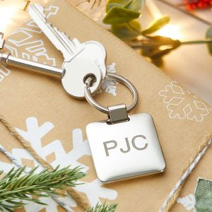 Personalised Silver Square Keyring