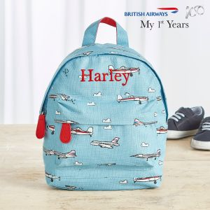 Personalised British Airways Aeroplane Print Mini Backpack