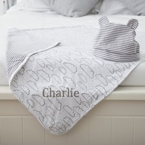 Personalised Cloud Blanket & Hat Set