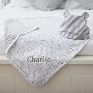 Personalised Cloud Blanket & Hat Set Was: £34