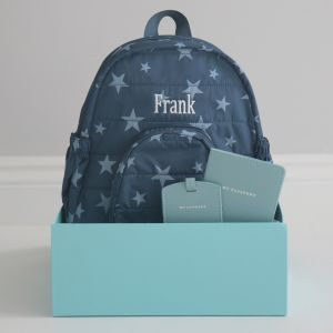 Personalised Blue Travel Set