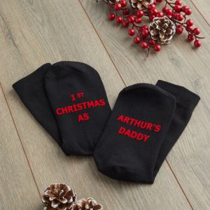 Personalised 1st Christmas Black Adults Sock