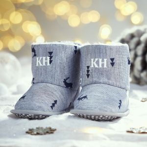 Personalised Grey Deer Print Booties