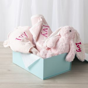 Personalised New Baby Essentials Gift Set - Pink