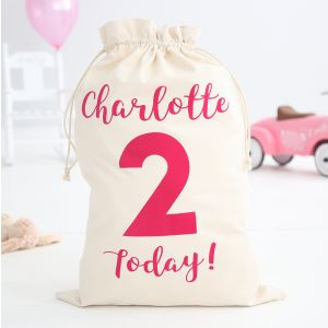 Personalised Birthday Today Sack - Pink