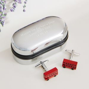 Personalised London Bus Cufflinks & Box