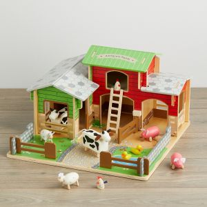 Personalised Wooden Cobblestone Farm with Animals Set