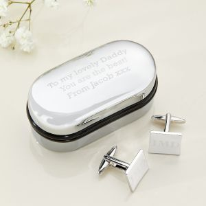 Engraved Square Cufflinks & Box