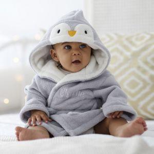 Personalised Grey Penguin Fleece Robe