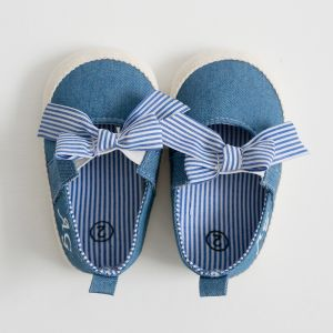 Personalised Denim Stripe Bow Espadrille