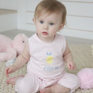 Personalised Geometric Romper with Lemon Design