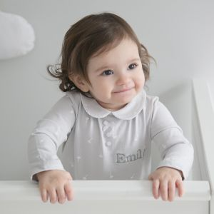 Personalised Grey Dandelion Print Sleepsuit with Peter Pan Collar 0-3 months