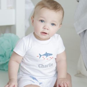 Personalised Shark Print Shorts & T-shirt Set