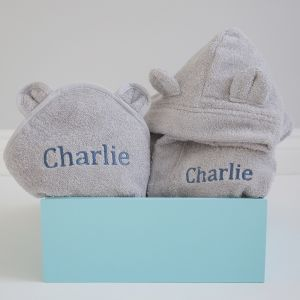 Personalised Splash and Snuggles Gift Set - Grey