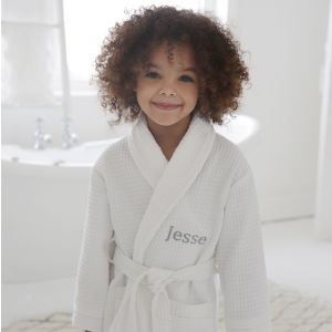 Personalised Children's White Waffle Robe