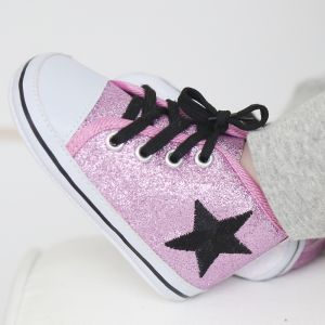 Pink Glitter High Tops (only size 0-6 months remaining)