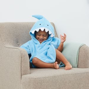 Personalised Children's Shark Swim Poncho Model Front View