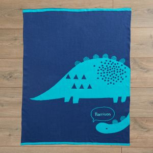 Personalised Blue Dinosaur Knitted Intarsia Blanket Flat View