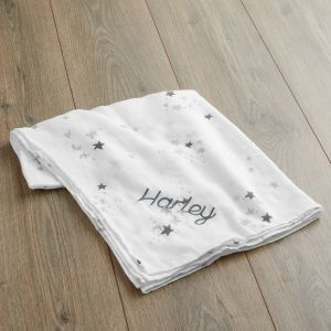 Personalised Star Print Bamboo Blend Muslin Blanket