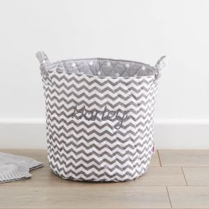 Personalised Medium Grey Chevron Print Storage Bag