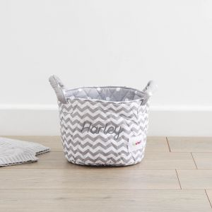 Personalised Small Grey Chevron Print Storage Bag
