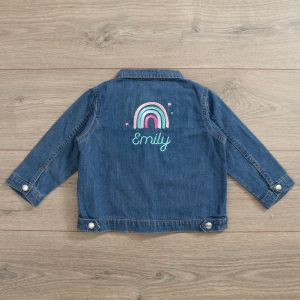 Personalised Rainbow Design Denim Jacket