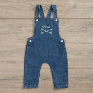 Personalised Tribal Design Denim Dungarees