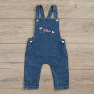 Personalised Butterfly Design Denim Dungarees